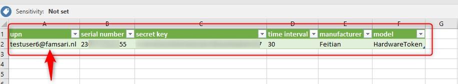 OATH TOTP Hardware token CSV file upload