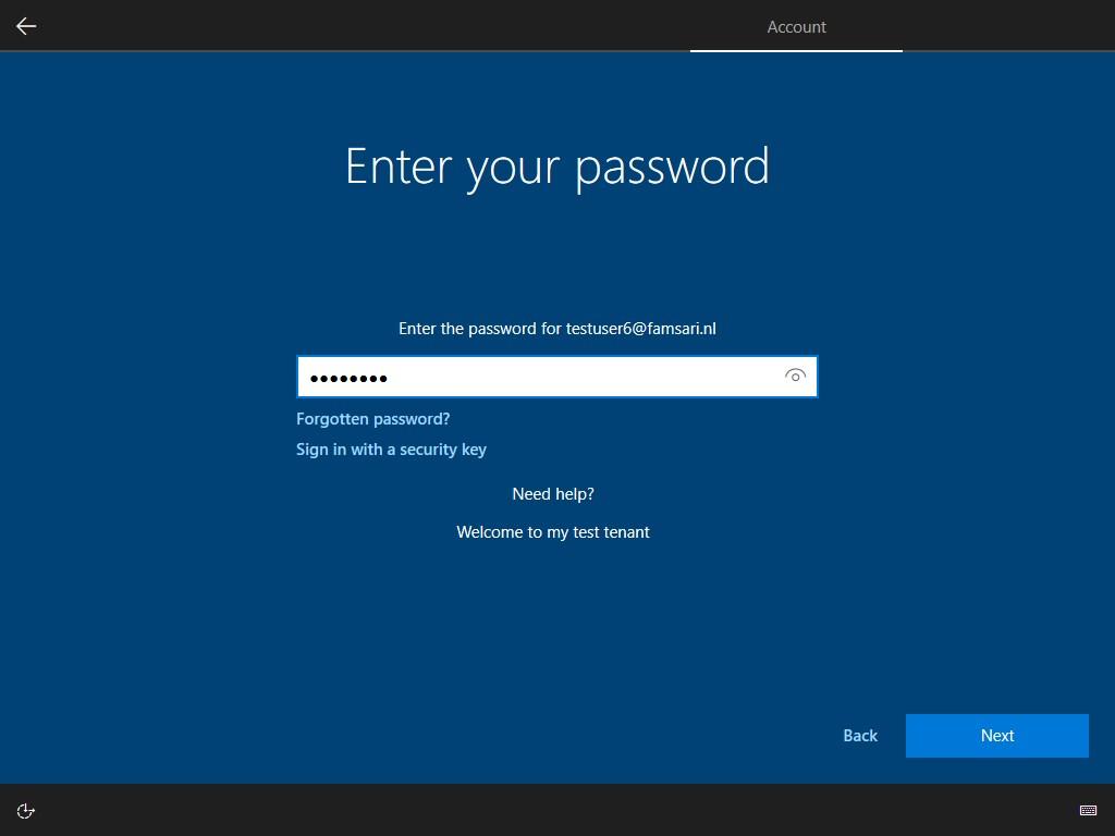 Windows Autopilot enrollment - Password screen