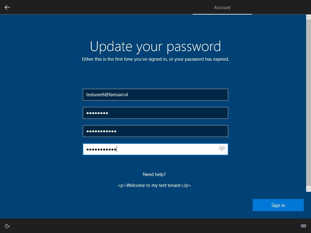 Windows Autopilot enrollment - Update password screen