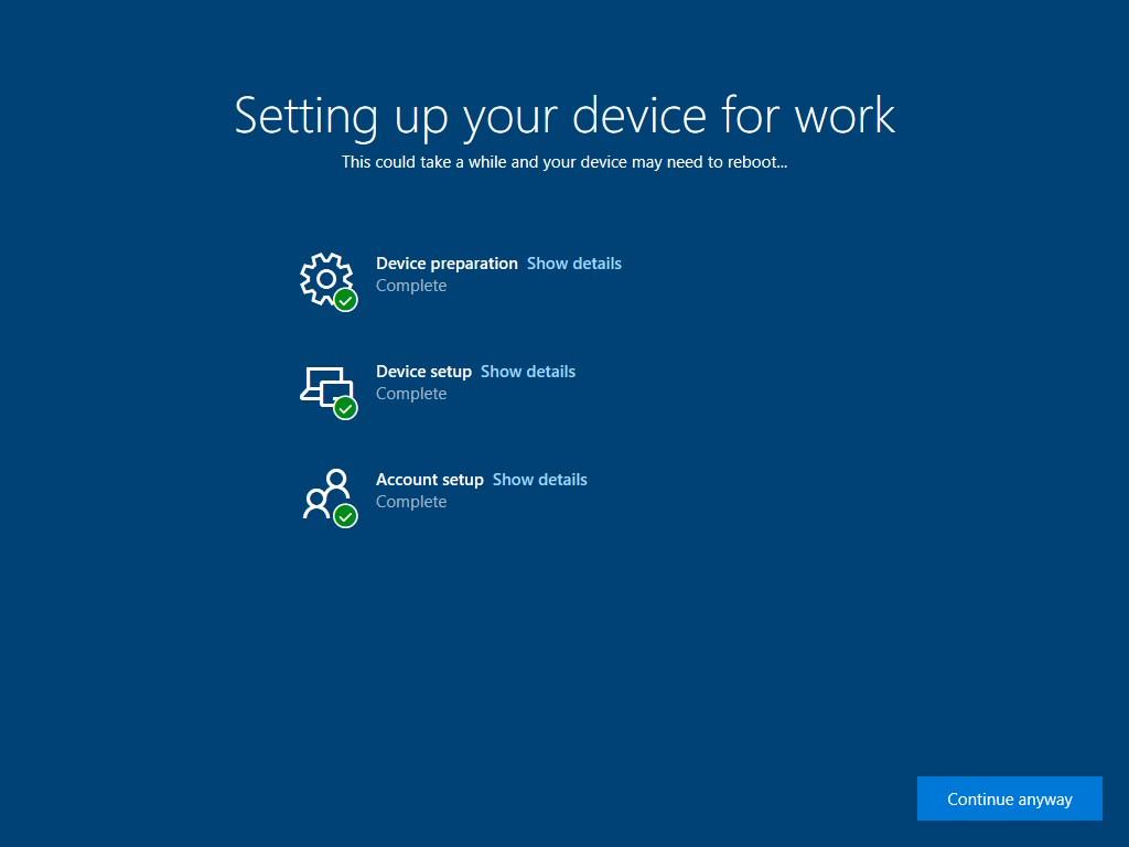 Windows Autopilot enrollment - screen