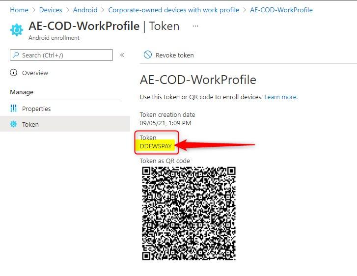 ANdroid enrollment profile token